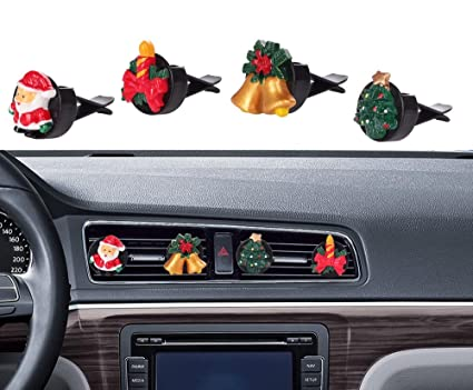 Christmas Car Decorations.Car Christmas Decorations Mini Factory Auto Interior Decor Air Vent Accessories Decorative Parts For Holidays Christmas New Year 4 Pcs