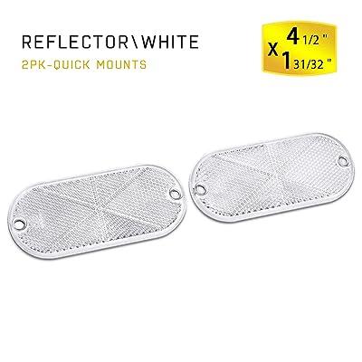 MFC PRO 2Pcs Plastic Oval Stick-on Reflector (White): Automotive