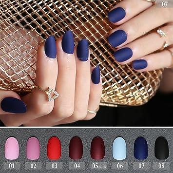 Amazoncom 24pcs Matte False Nails Long Round Soft Pink Nude Color