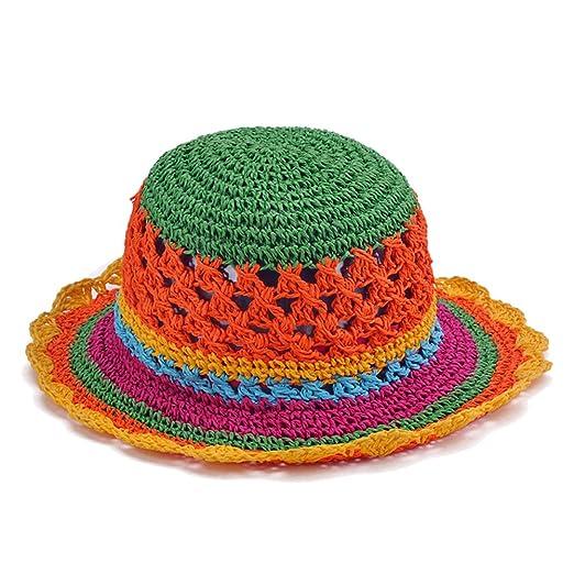 45522536337 Amazon.com  LOCOMO Women Girl Rainbow Striped Sun Shade Narrow Brim Bucket  Straw Hat FFH048  Clothing
