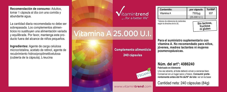 Vitamina A 25.000 I.E acetato de retinol - producto vegano - altas dosis - 240 cápsulas - ayuda a mejorar la visión: Amazon.es: Salud y cuidado personal