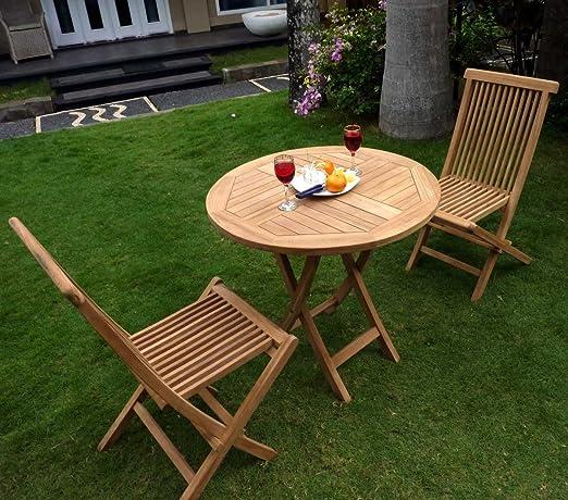 Mobiliario de jardín conjunto mesa redonda + 2 sillas en teca ...