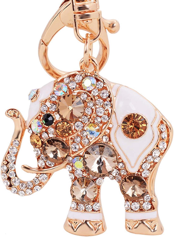Elesa Miracle Girl Women Opal Rhinestone Elephant Keychain, Purse Bag Charm, Handbag Accessories, Car Key Chain