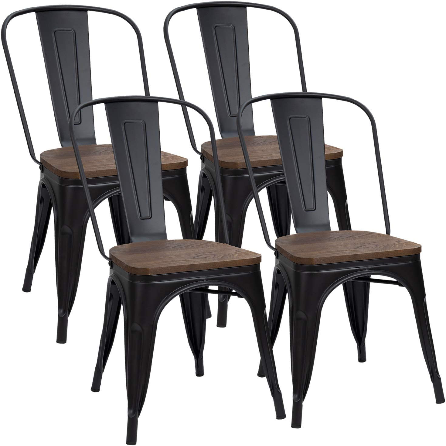 Furmax Metal Dining Chair Indoor-Outdoor Use Stackable Chic Dining Bistro  Cafe Side Metal Chairs Set of 9(Black)
