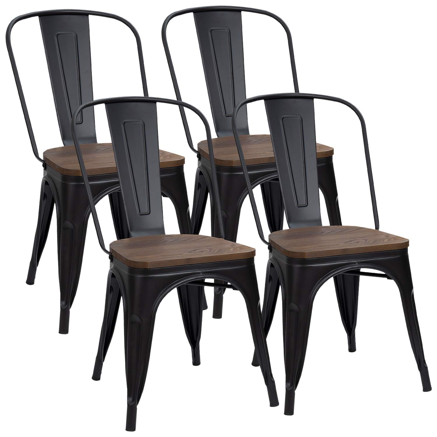 Furmax Metal Dining Chair Indoor-Outdoor Use Stackable Chic Dining Bistro Cafe Side Metal Chairs Set of 4(Black)