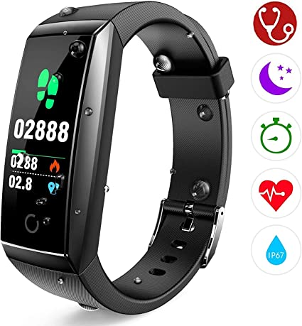 Fitness Tracker, Orologio Fitness Braccialetto Cardiofrequenzimetro da Polso Pressione Sanguigna Smartwatch GPS Contapassi Impermeabile IP67 Donna