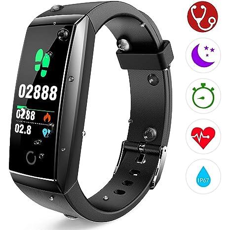 Pulsera de Actividad Reloj Inteligente con Pulsómetro y Presión Arterial Relojes Deportivos GPS Impermeable IP67 Monitor