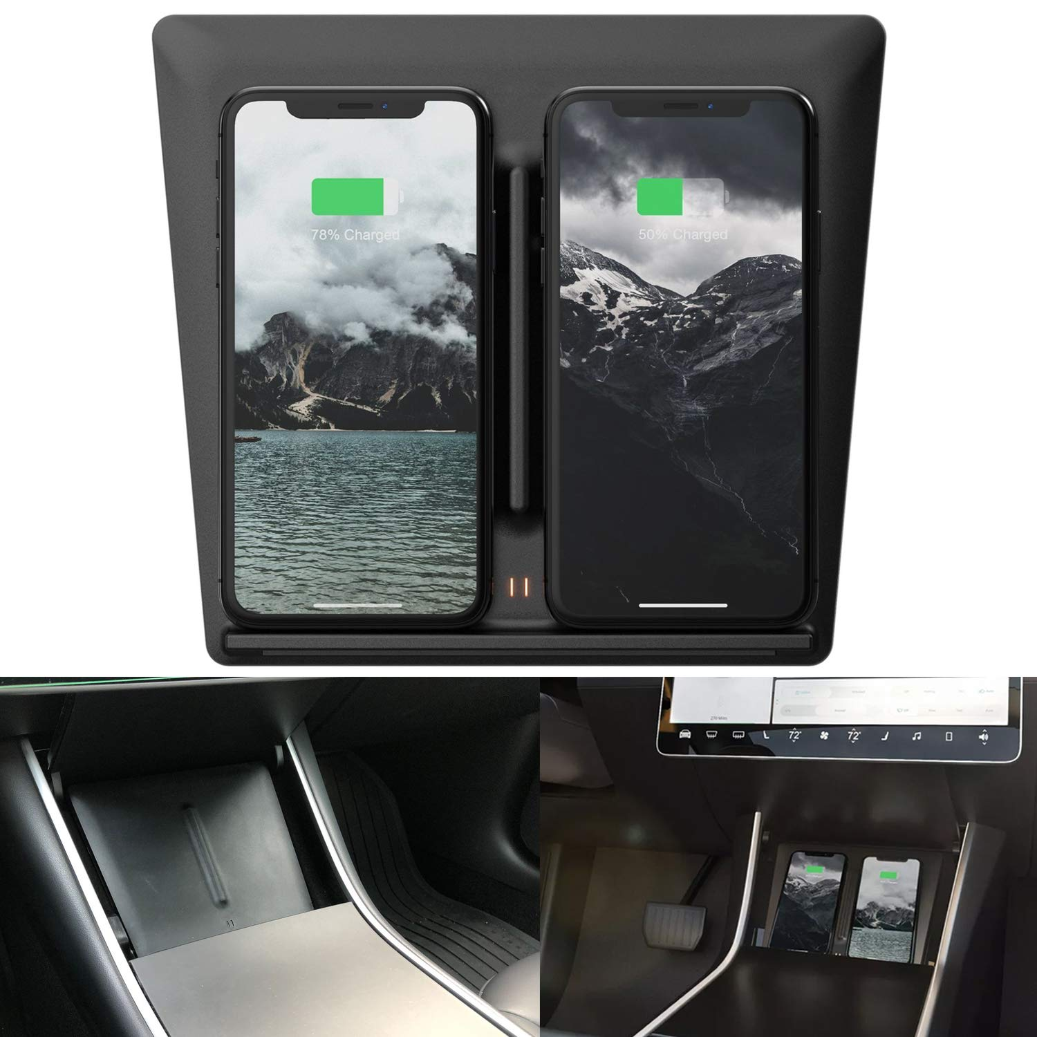 BASENOR Model 3 Dual QI Wireless Phone Charging Dock Center Console Wireless Charger with USB Splitter for Tesla Model 3 Upgraded