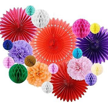 Sunbeauty Deco Papier Rosace Pompom Boule Decoration Anniversaire