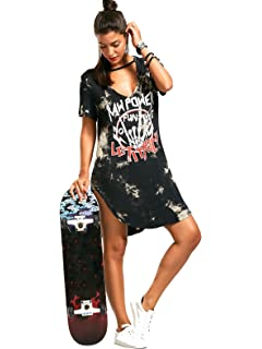 9944d0b4ed ZG DD Womens Deep V Neck Lace Up Front Short Sleeve Casual Loose Print  Tshirt Dress