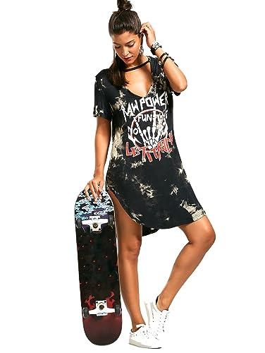 Womens Deep V Neck Lace Up Front Half Sleeves Casual Loose Print Tshirt Dress
