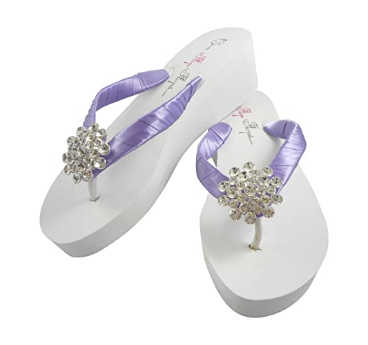 b33f299a71b3c4 Image Unavailable. Image not available for. Color  Orchid Large Jewel Bling Wedding  Flip Flops