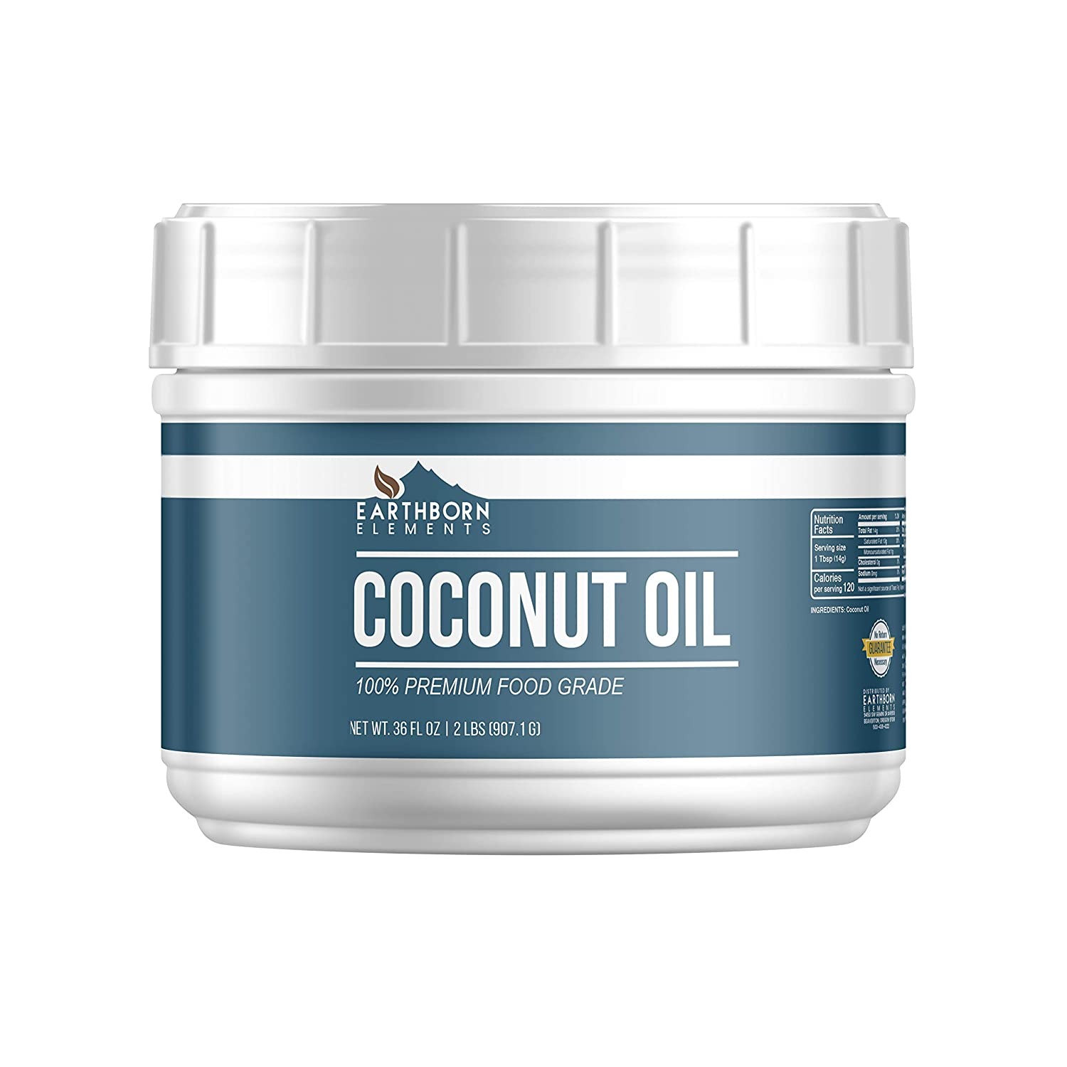 Coconut Oil (36 oz) 100% Pure for Skin, Hair, & Cooking, Refined, Filtered, Food Grade, Non-Hydrogenated, Flavorless & Scentless, Non-GMO, Resealable Tub by Earthborn Elements