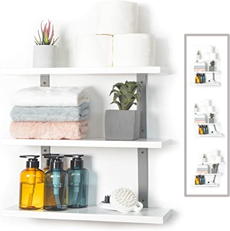 Amazon Com Js Home White Floating Wall Shelves 16 9 Inches Adjustable Angle Wall Shelves Floating Shelves Mount Wall Hanging Wall Shelves For Bedroom Bathroom Living Room Kitchen White Kitchen Dining