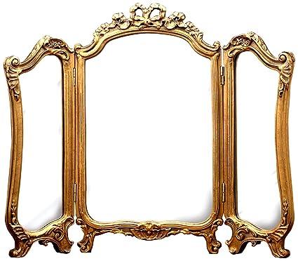 Hickory Manor House Tri Fold Vanity Mirror, Gold Leaf - Amazon.com: Hickory Manor House Tri Fold Vanity Mirror, Gold Leaf