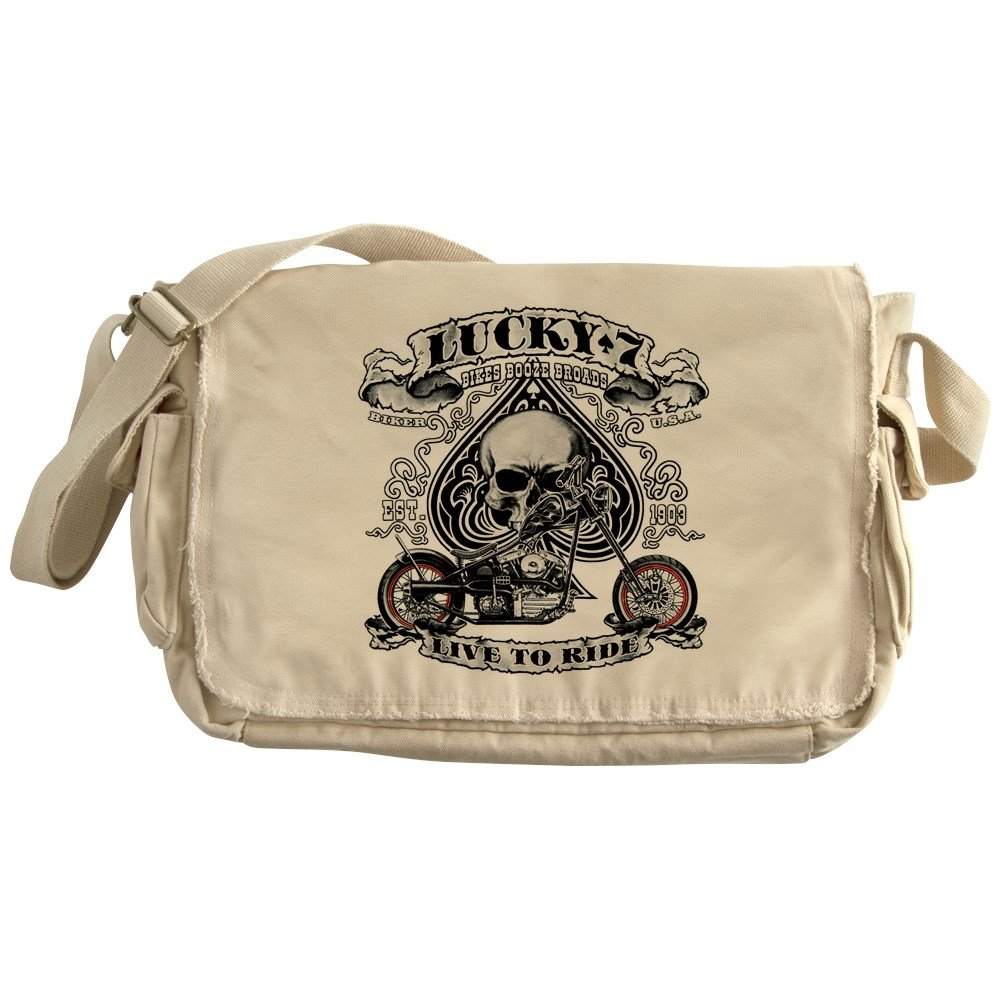 Royal Lion Khaki Messenger Bag Lucky 7 Bikes Live To Ride Skull