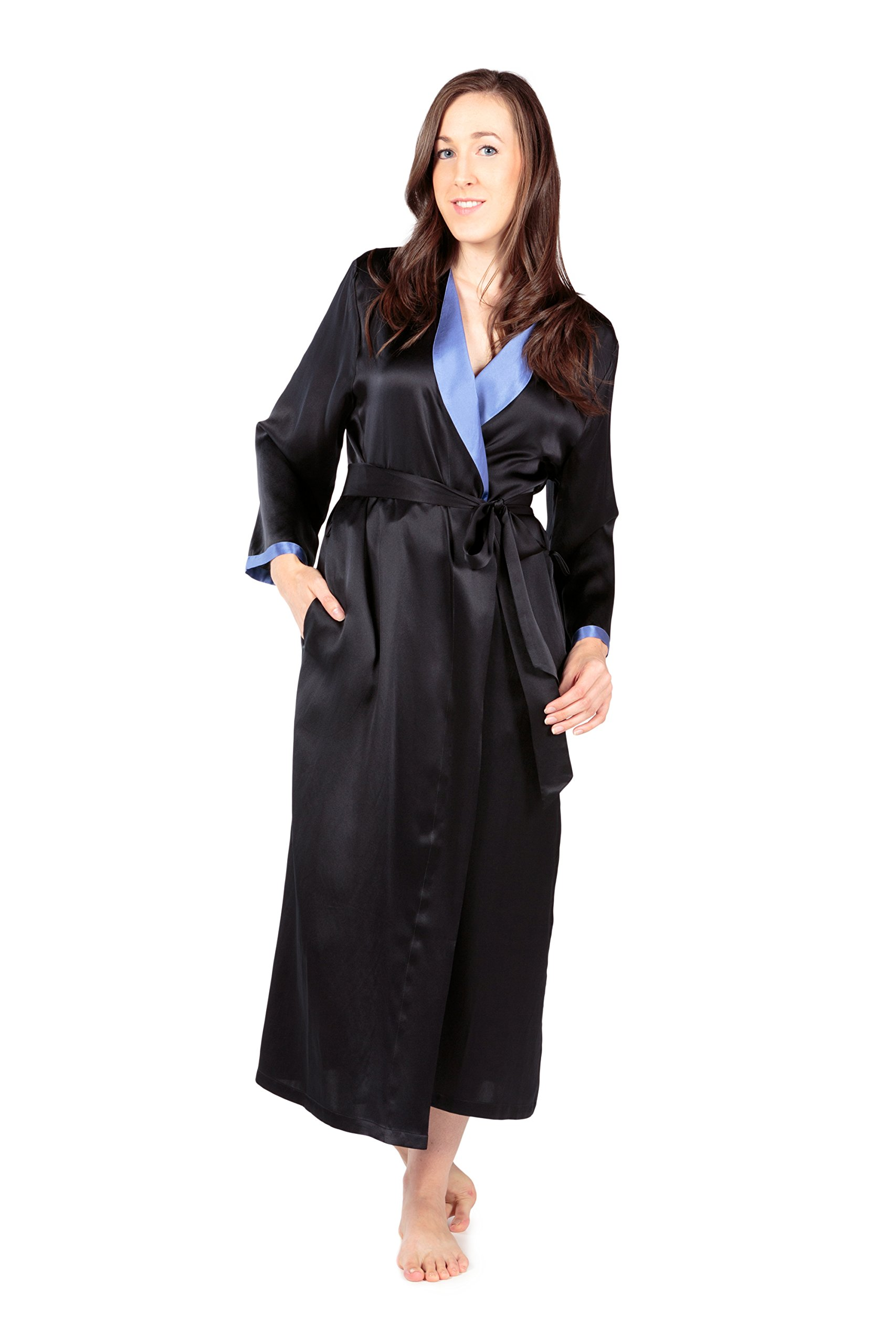 Women's Luxury Long Silk Bathrobe - Sleepwear Robe by TexereSilk (Beautibliss, Black, Large/X-Large) Popular Gifts for Women WS0102-BLK-LXL by TexereSilk (Image #4)