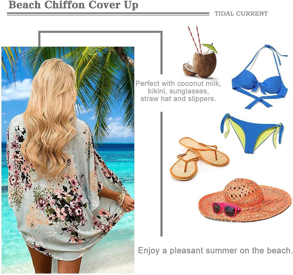 Tops Cardigan Chiffon Shawl Bluse Sommer Boho Strand Cover up Leichte Jacke Oberteil JORYEE Damen Florale Kimono Cardigan