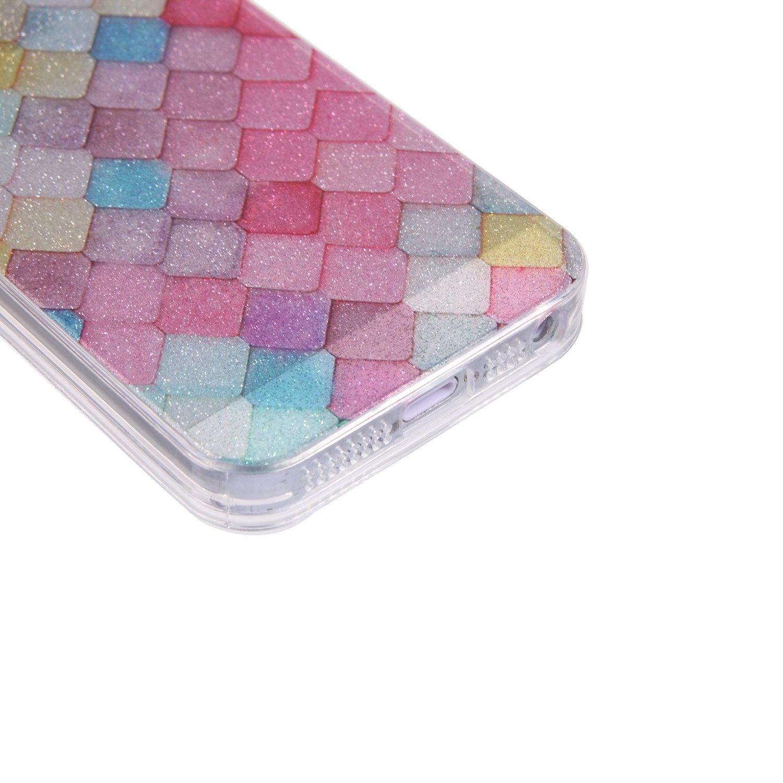 iPhone Se Rainbow Ecoway iPhone 5 5S 5G iPhone Se Case Cover Coque de t/él/éphone IMD Silicone Housse en Silicone Housse de Protection Housse pour t/él/éphone Portable pour iPhone 5 5S 5G
