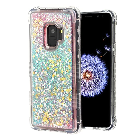 half off e5c32 315a8 TUFF Series [Quicksand Waterfall] Flowing Liquid Floating Glitter  Shockproof Case - (Pink Stars) and Atom Cloth for Samsung Galaxy S9