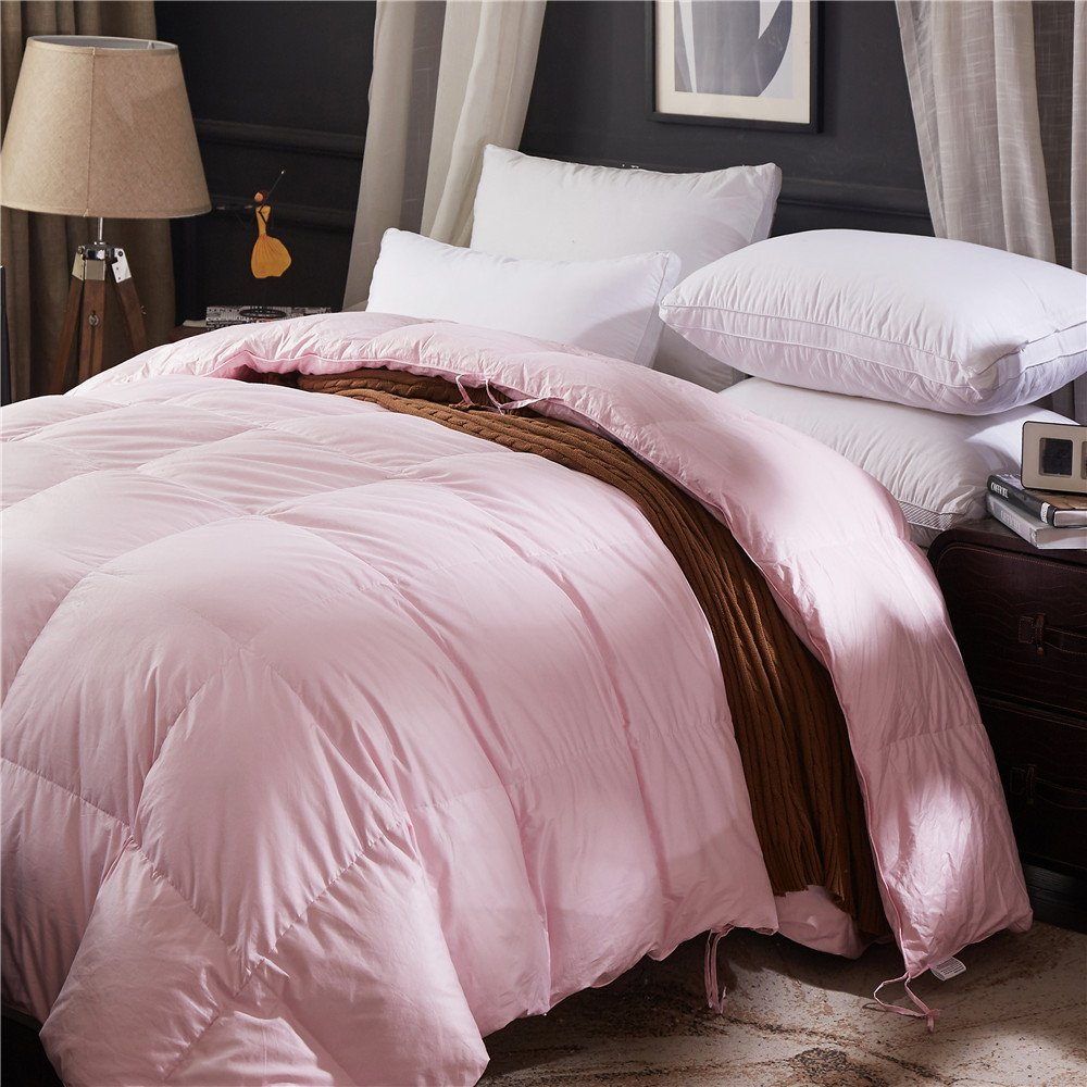 Topsleepy LUXURIOUS All Size 75% Goose Down Comforter ,1200TC 100% Cotton Shell Down Proof 750 Fill Power, 50 Oz Fill Weight ,LIGHT PINK Color,Hypo-allergenic (California King Size) by Topsleepy (Image #2)