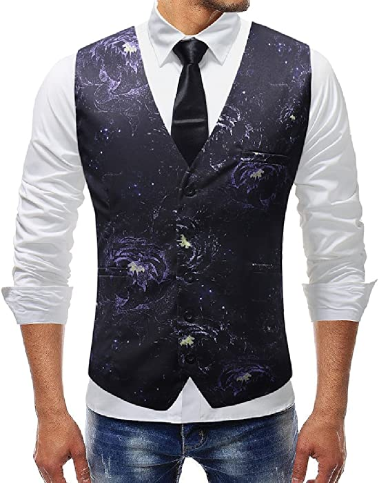 583b0a60e5a Comaba Mens Modern 5 Button Wedding Party British Style Suit Vest Dress  Waistcoat S