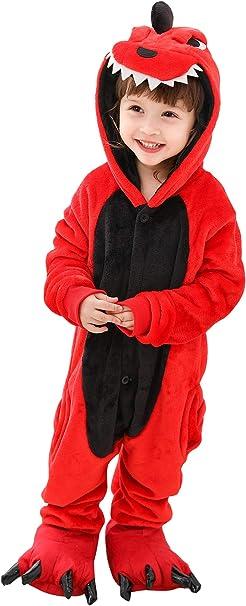MARRYME Pijama Entero Niño Pijamas Enteros Niña de Animales Disfraz Pijama Invierno Vaca Dragon de Una Pieza CáLido con Capucha Zapaterillas 2-12 Años
