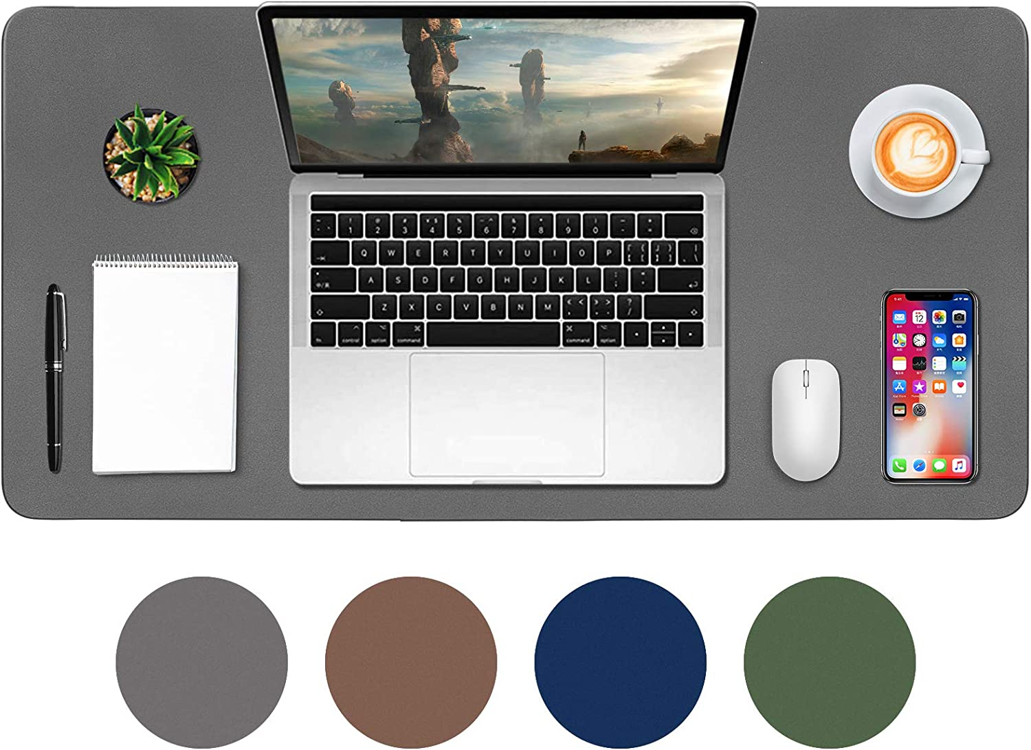 "Desk Mat,Leather Desk Pad Protector,Mouse Pad,Office Desk Mat, Non-Slip PU Leather Desk Blotter,Laptop Desk Pad,Waterproof Desk Writing Pad for Office and Home-Gray(35"" x 18"")"