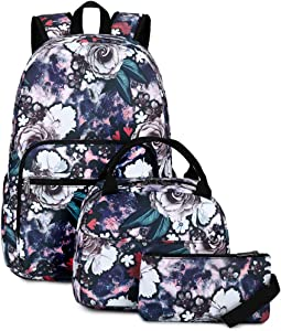 School Backpack for Girls Floral School Bookbag 3 in 1 Backpack Set with Lunch Bag and Pencil Case (Elegant Peony)