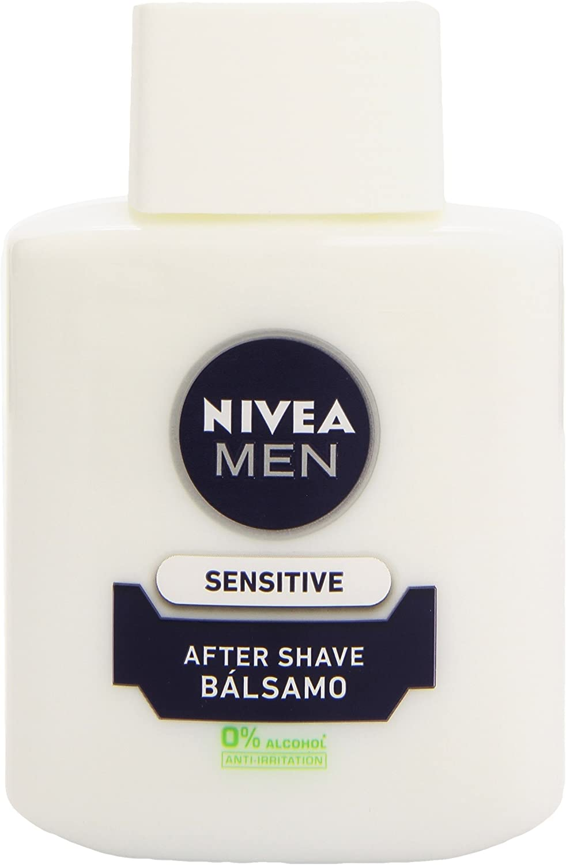 NIVEA MEN Sensitive Bálsamo After Shave (1 x 100 ml), para el cuidado de la piel sensible, bálsamo anti irritaciones con 0% alcohol para calmar la piel al instante