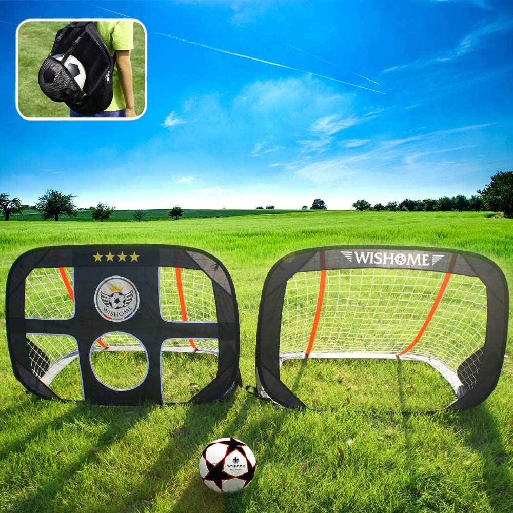 WISHOME 4ft Foldable Kids Pop-Up Soccer Goals for Backyard Outdoors Portable Square Soccer Net with Carrying Bag Practice Training Sports Toys Gift for Kids (Set of 2) : Sports & Outdoors