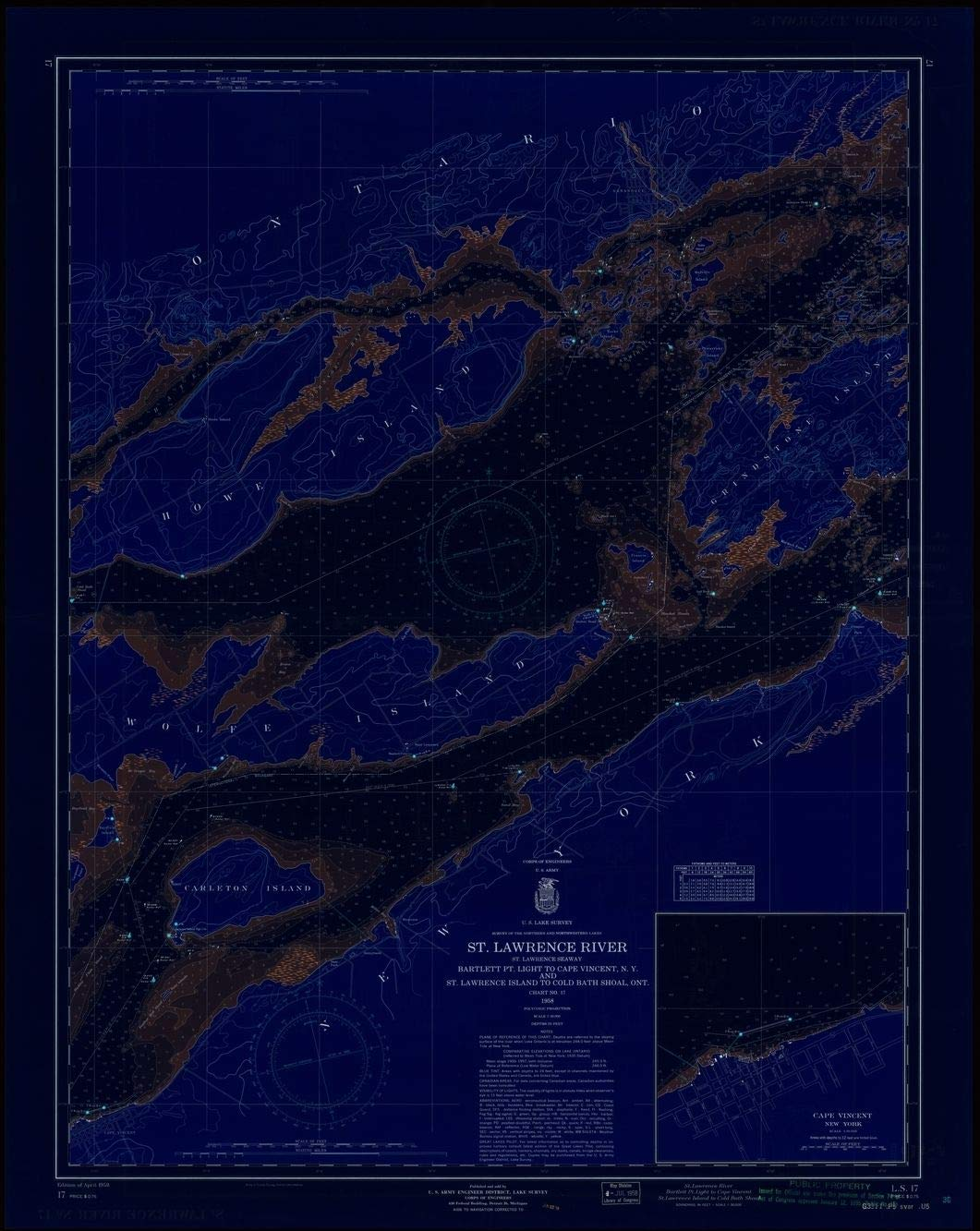 Blueprint Style 18 x 24 Reprint of 1958 Nautical Chart ST. LAWRENCE RIVER, ST. LAWRENCE SEAWAY, BARTLETT PT. LIGHT TO CAPE VINCENT, N.Y. AND ST. LAWRENCE ISLAND TO COLD BATH SHOAL, ONT. by Lak