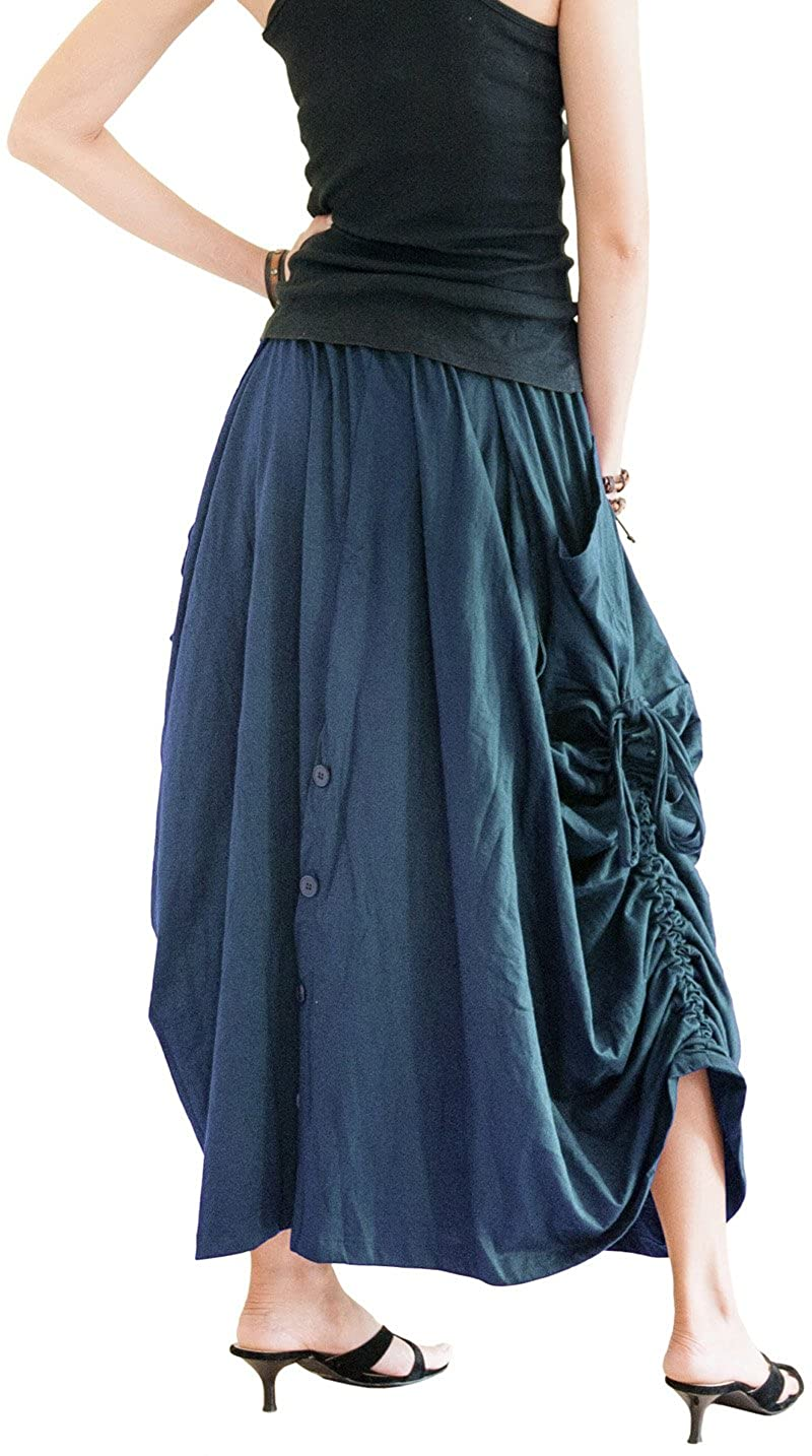 Women's Teal Cotton Jersey Versatile Maxi Convertible Skirt Pants Over-Skirt - DeluxeAdultCostumes.com