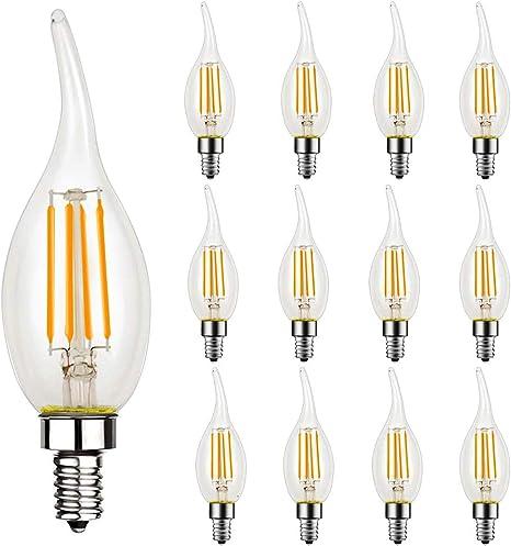 12 Pack Dimmable Led Candelabra Bulb Ca11 Shape Flame Tip Style 60 Watt Equivalent 2700k Soft White E12 Base Chandelier Led Edison Light Bulbs Cri 90 Ul Listed Led Bulb