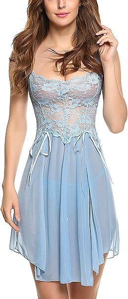 Womens Deep V-Neck Sheer Mesh Lingerie Mini Dress Neckline Hem Contrast Nig