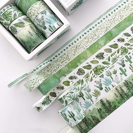 MIKI-Z Lot de 8 rubans adh/ésifs d/écoratifs Motif feuilles vertes