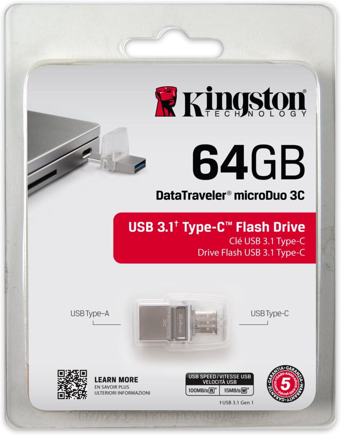 Kingston DTDUO3C//128GB USB Stick DataTraveler microDuo 3C, USB3.0//3.1 Type-C