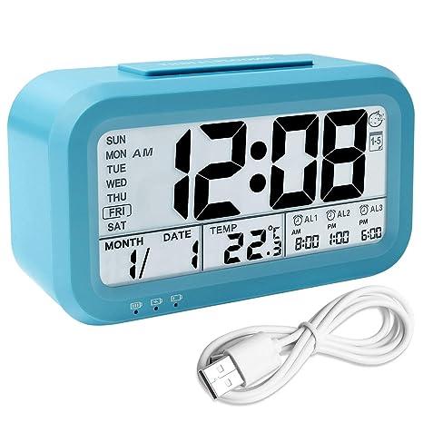 Despertador con temperatura y humedad, Retroiluminación LCD ...