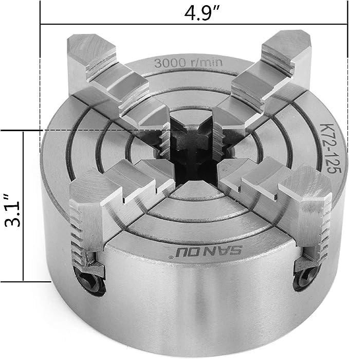 Mophorn Mandril De Torno Autocentrante 160 mm Torno de Mandril Autocentrante de 4 Mordazas de 4.92 Fresado de Rectificadoras Internas y Externas Accesorios de Torno De Herramiente