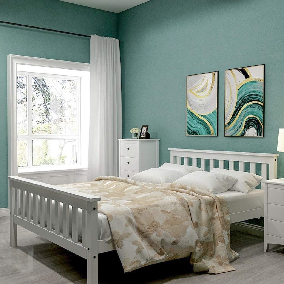 Cama de madera de 135 x 190 cm, hasta 200 kg, cama doble con ...