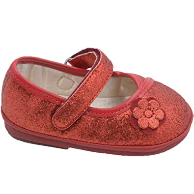 ceb839c157f Angel Girls Glitter Red Flower Kimono Mary Jane Shoes 4 Toddler