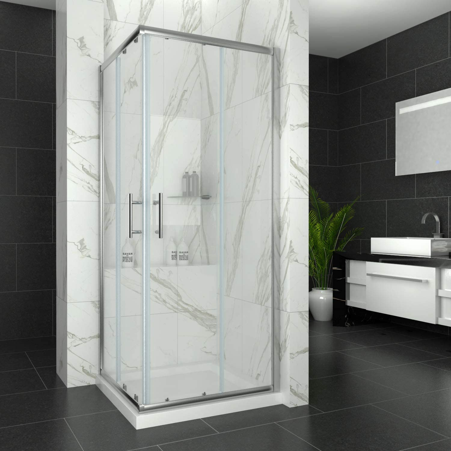 900 x 900 mm Sliding Square Corner Entry Shower Enclosure 6mm Extra Toughened Safety Glass liding Shower Cubicle Door