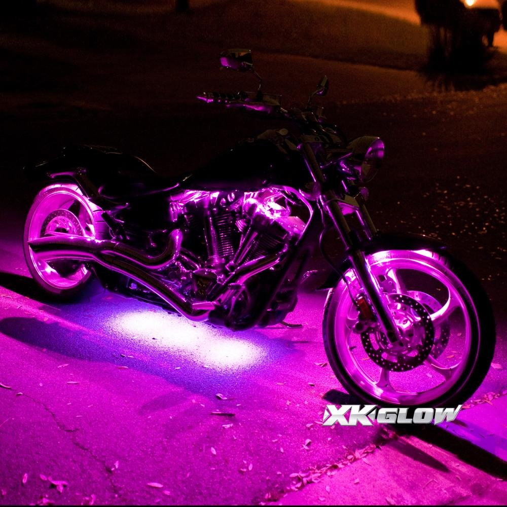 8 Compact Pods 4 Flex Strips 7 Color Remote Control Motrocycle ATV Snowmobile LED Light Kit