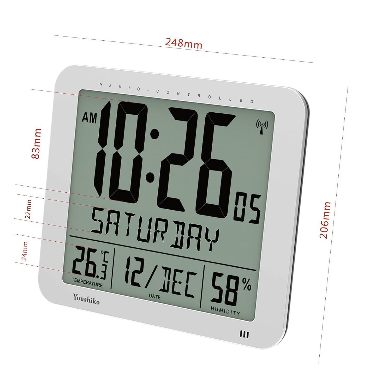 AOKI LCD Large Digital Wall Clock for Kitchen Living Room Silent Battery Operated Jumbo Alarm Clock Table Desktop Dermentia Clock Day Date Month 12 24 Hour Dual Alarm Clocks Temperature Snooze Black