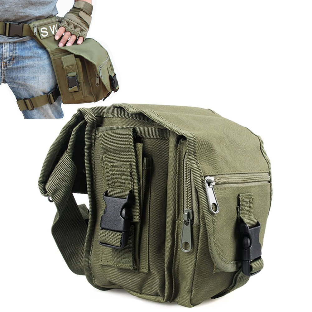 VINILO Versipack Military Tactical Drop Leg Bag Fanny Thigh Pack Cross Over Hip Bag Water Resistant Nylon Waist Belt for Outdoor Cycling Motorcycle Riding Multi-purpose Utility Pouch