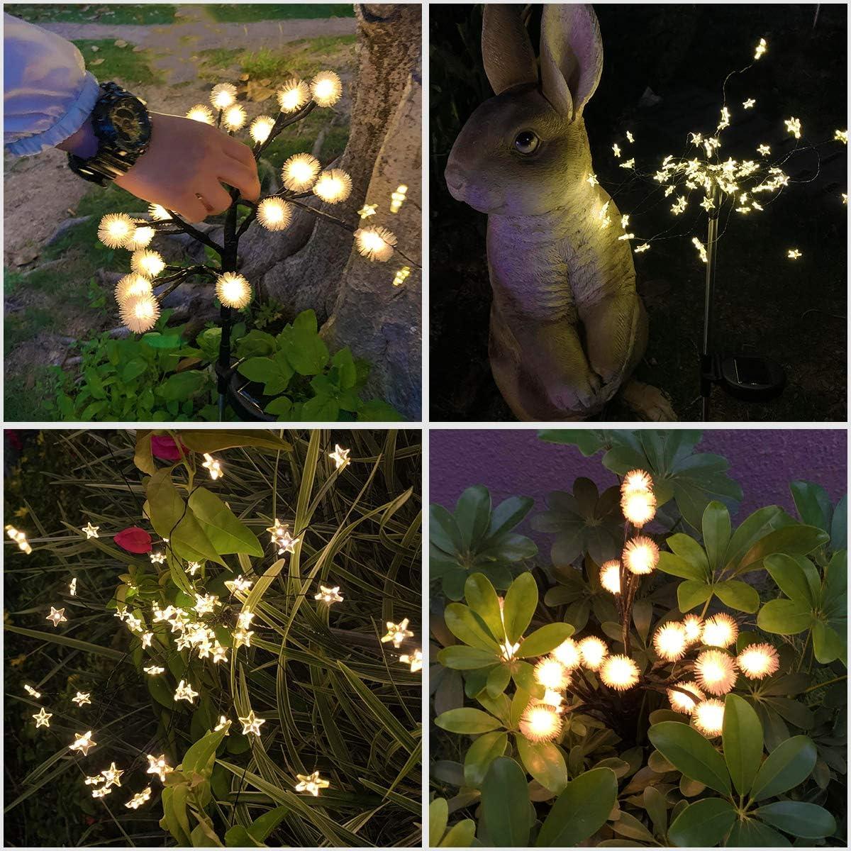 Upgraded Outdoor Solar Lights, Decorative Solar Garden Lights Solar Fairy Flower Lights Waterproof for Patio Yard Pathway Garden Christmas Decor (4 Pack,Warm White)