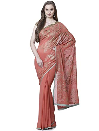 0a1836f9202a35 Satya Paul Georgette Sarees (ESW11173_00_PEACH): Amazon.in: Clothing &  Accessories