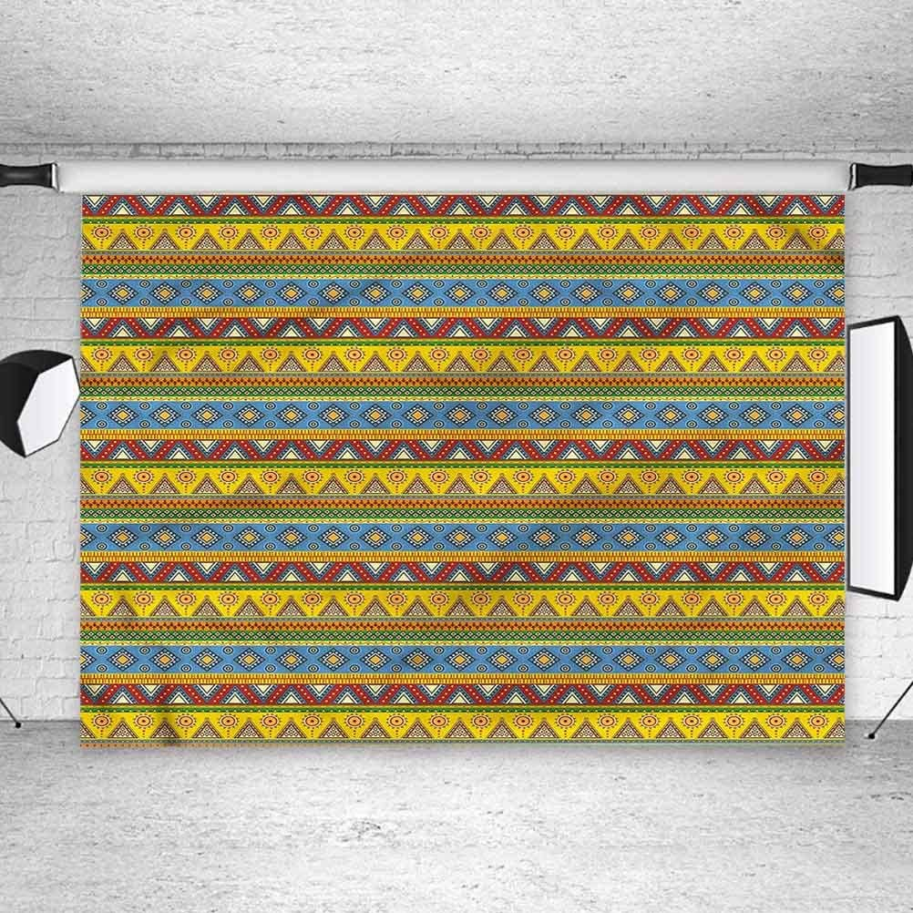 8x8FT Vinyl Backdrop Photographer,Mexican,Native Aztec Borders Background for Party Home Decor Outdoorsy Theme Shoot Props