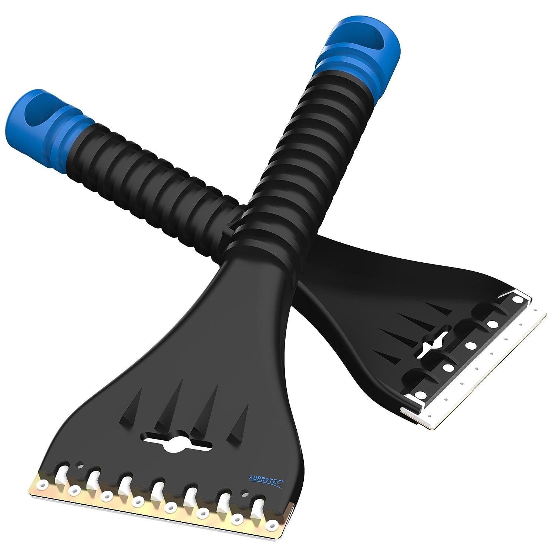 AUPROTEC Grattoir /à Glace avec Racloir Double en laiton et polycarbonate couleur noir-bleu Dents brise-glace Gratte-givre Raclette pare brise Outil dhiver AE 1