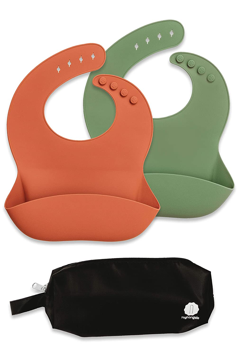 Platinum Silicone Baby Bibs for Babies and Toddlers Soft Clay Feeding Bib for Girls or Boys Waterproof Comfortable Silicone Baby Bibs with Pocket Stops Stains Adjustable